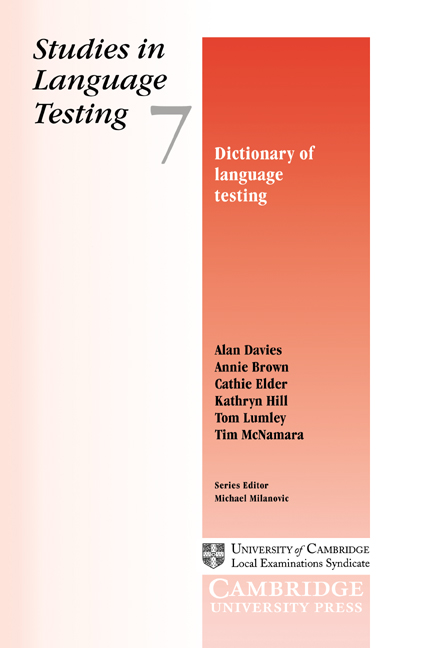 Dictionary of Language Testing